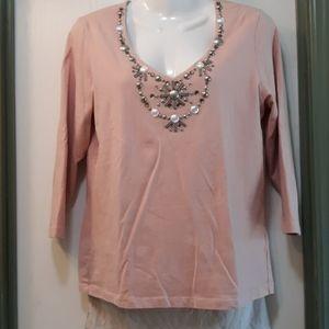 Women's long sleeve blouse pink sz sm